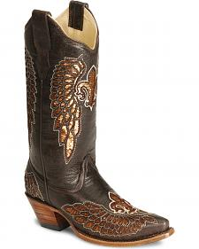 Corral Fleur-De-Lis Inlay Distressed Cowgirl Boot - Snip Toe