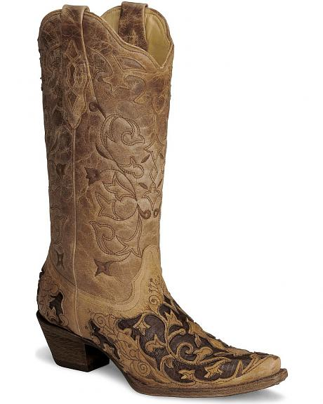 Corral Tooled Caiman Inlay Cowgirl Boot - Snip Toe