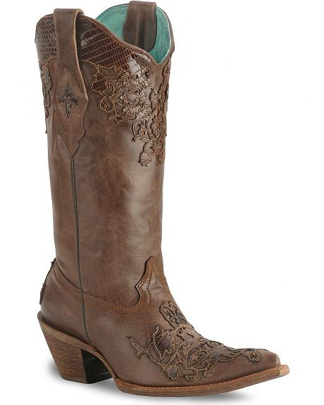 Corral Brown Lizard Cutout Cowgirl Boot - Pointed