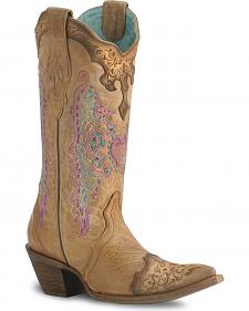Corral Lace & Heart Embroidery Cowgirl Boots - Pointed Toe
