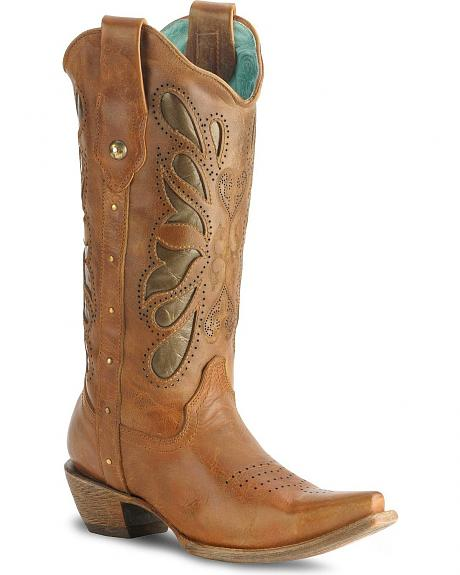 Corral Kats Cognac Butterfly Cowgirl Boot - Snip Toe