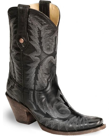 Corral Black Goatskin Cowgirl Boot - Snip Toe