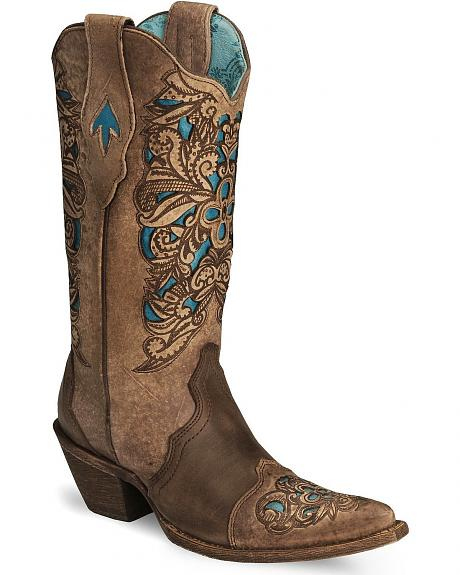Corral Inlay Laser Tooled Cowgirl Boot - Pointed Toe