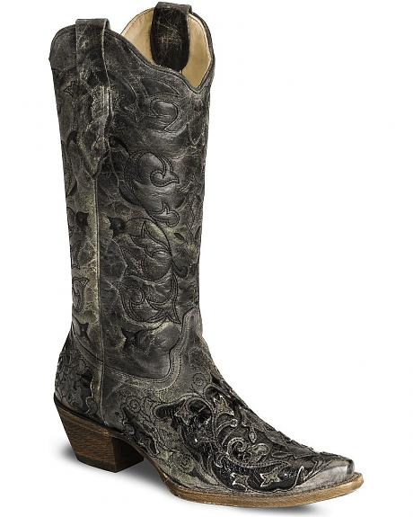 Corral Black Caiman Inlay Cowgirl Boots - Snip Toe