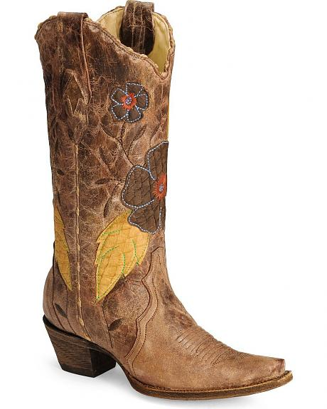 Corral Daisy Overlay Cowgirl Boot - Snip Toe