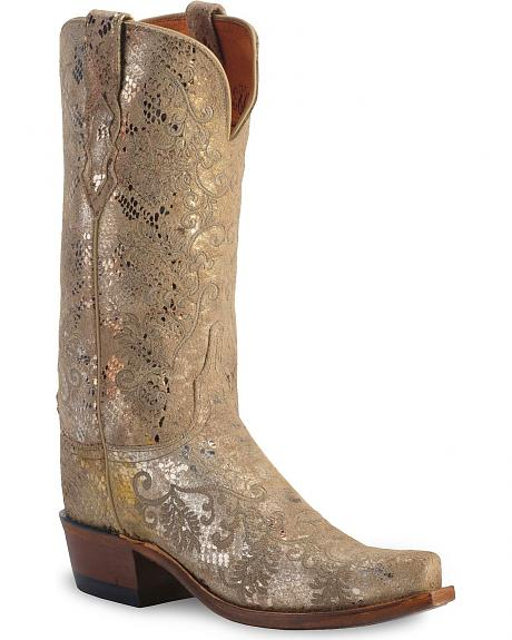 Lucchese 1883 Precious Metal Python Print Cowgirl Boots - Snip Toe