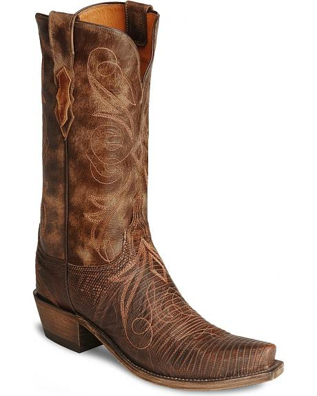 Lucchese Boots - Handcrafted 1883 Redwood Lizard Cowboy Boots - Snip Toe