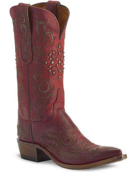 Lucchese 1883 Burnished Red Mad Dog Goat Skin Cowgirl Boots - Snip Toe
