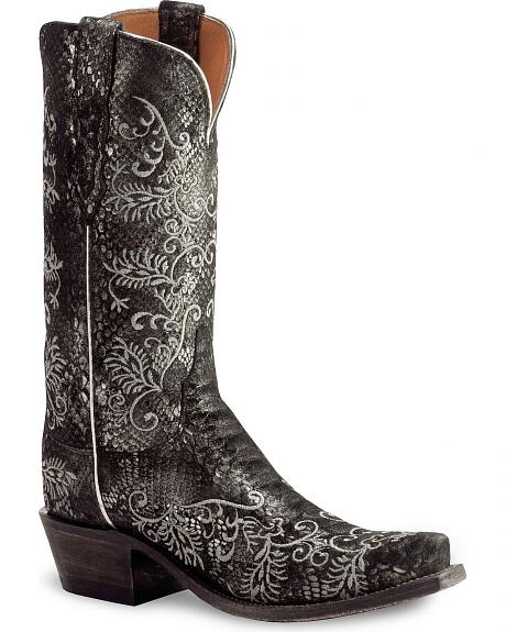 Lucchese Handcrafted 1883 Black Python Print Cowgirl Boots - Snip Toe