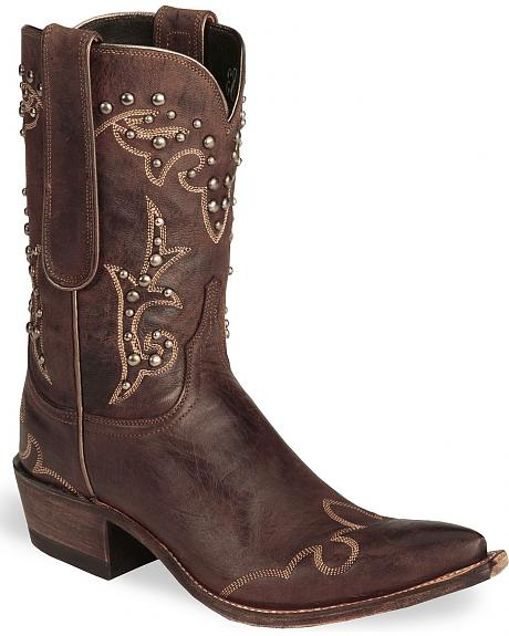 Lucchese Handcrafted 1883 Chocolate Mad Dog Goat Cowgirl Boots - Snip Toe
