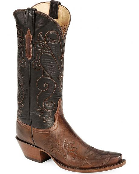 Lucchese Handcrafted Classics Tan Burnished Cowgirl Boots - Snip Toe