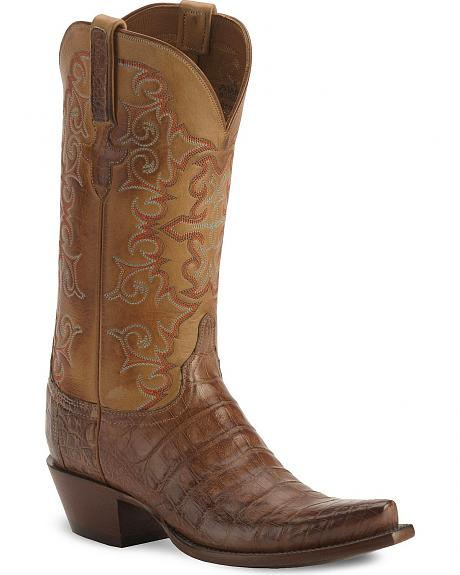 Lucchese Classics Burnished Tan Caiman Belly Cowgirl Boots - Snip Toe