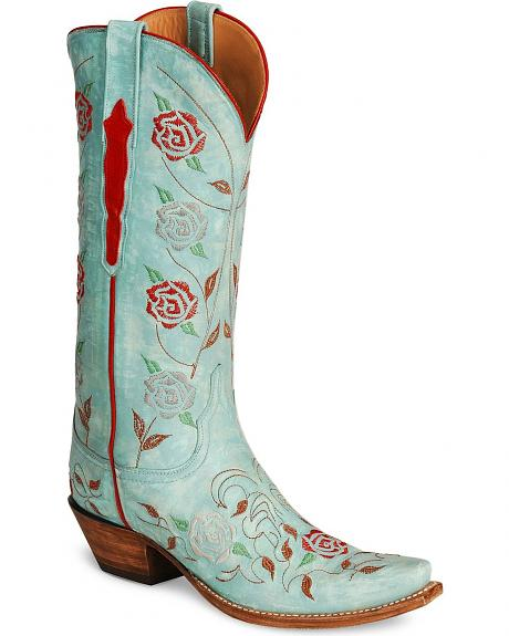 Lucchese Handcrafted Classics Robin's Egg Blue Cowgirl Boots - Snip Toe