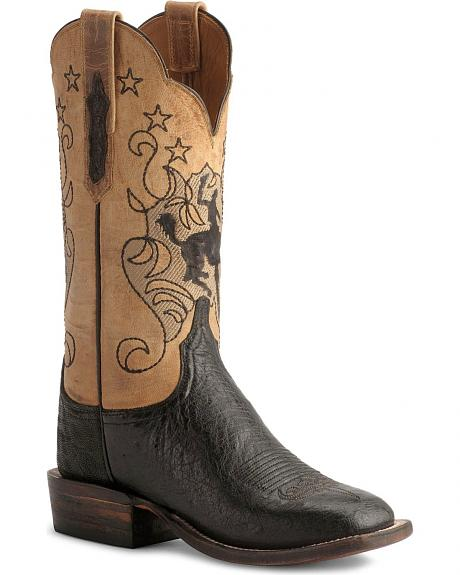Lucchese Boots - Handcrafted Cowgirl Smooth Ostrich Cowgirl Boots-Square Toe