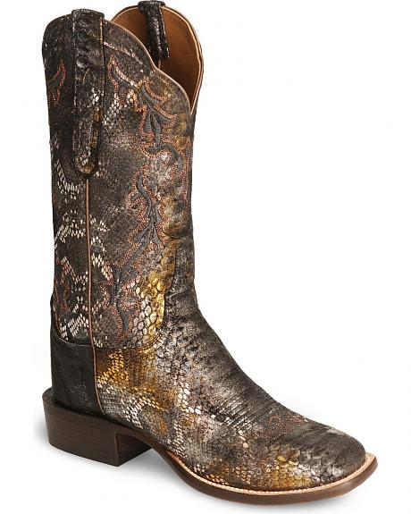 Lucchese Handcrafted Precious Metal Python Print Boots - Square Toe