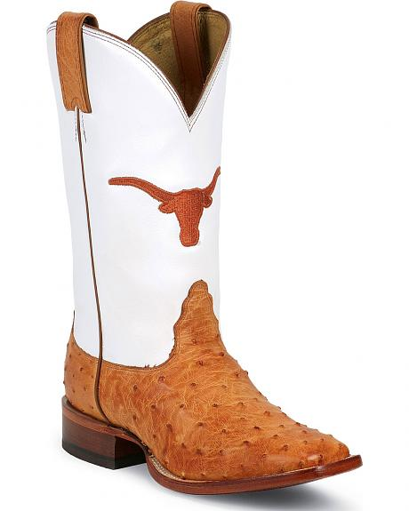 Nocona Full Quill Ostrich University of Texas Longhorns Cowgirl Boots