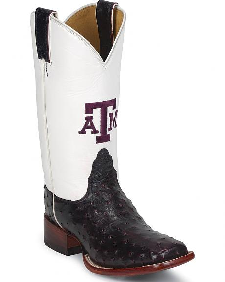 Nocona Full Quill Ostrich Texas A&M University Aggies College Boot - Square Toe