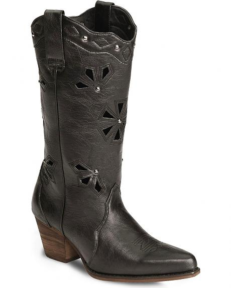 Dingo Wendy Faux Leather Cutout Cowgirl Boot - Pointed Toe