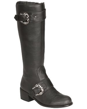 Roper Faux Leather Bling Buckle Harness Riding Boots - Round Toe