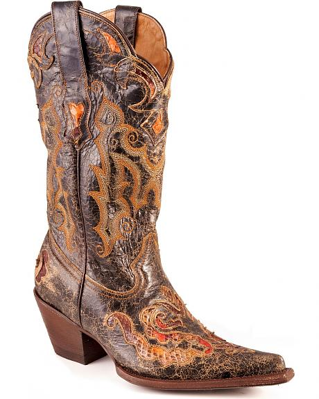 Stetson Black Distressed Python Underlay Cowgirl Boots - Pointed Toe