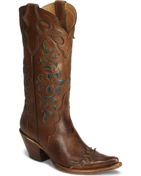 Stetson Tan Cutout Wingtip Cowgirl Boot - Pointed Toe