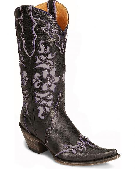 Stetson Cutout Crackle Wingtip Cowgirl Boot - Pointed Toe