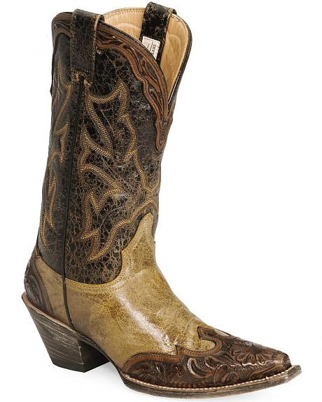Stetson Tan Hand Tooled Overlay Cowgirl Boots - Snip Toe