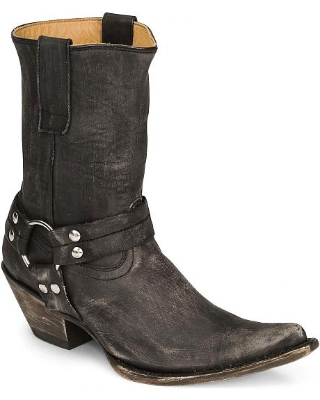 Stetson Distressed Harness Short Cowgirl Boot - Pointed Toe