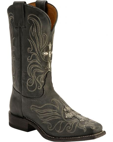 Tony Lama San Saba Metallic Cross Embroidered Cowgirl Boots - Square Toe