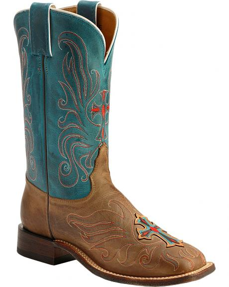 Tony Lama San Saba Vintage Turquoise Cross Applique Cowgirl Boots - Square Toe