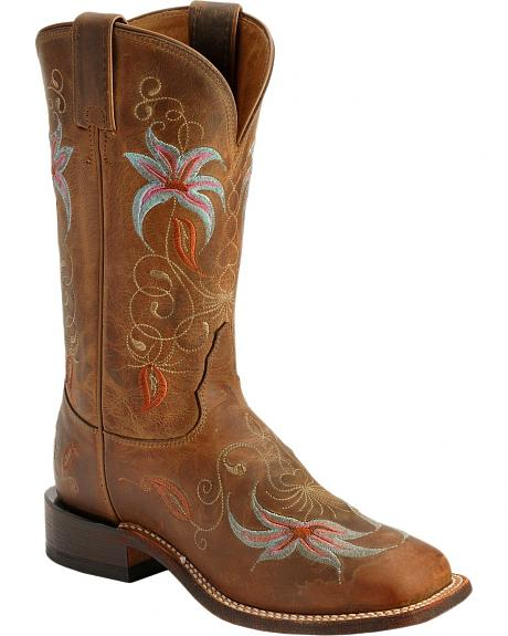 Tony Lama San Saba Century Flower Embroidered Cowgirl Boots - Square Toe