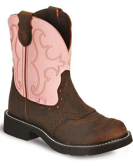 Justin Gypsy Coffee Cowgirl Boots - Round Toe