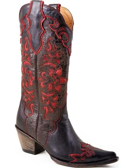 Stetson Black Crackle Red Leather Inlay Cowgirl Boots - Pointed Toe
