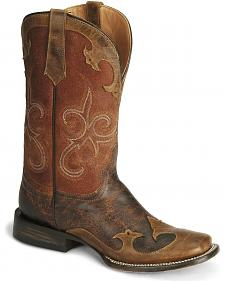 Stetson Burnished Wingtip Cowgirl Boots - Wide Square Toe