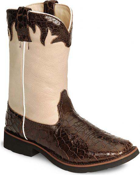 Roper Riderlite Two-Tone Crackled Cowgirl Boots - Square Toe