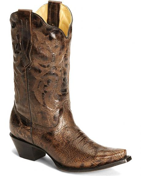 Corral Brown Burnished Cowgirl Boot - Snip Toe