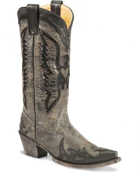 Corral Black Sequins Wingtip Cowgirl Boot - Snip Toe