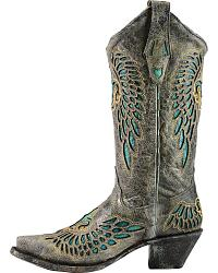 Corral Turquoise Inlay Cowgirl Boots - Snip Toe at Sheplers