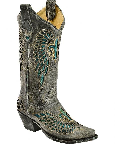 Corral Turquoise Fleur-De-Lis Inlay Cowgirl Boots - Snip Toe
