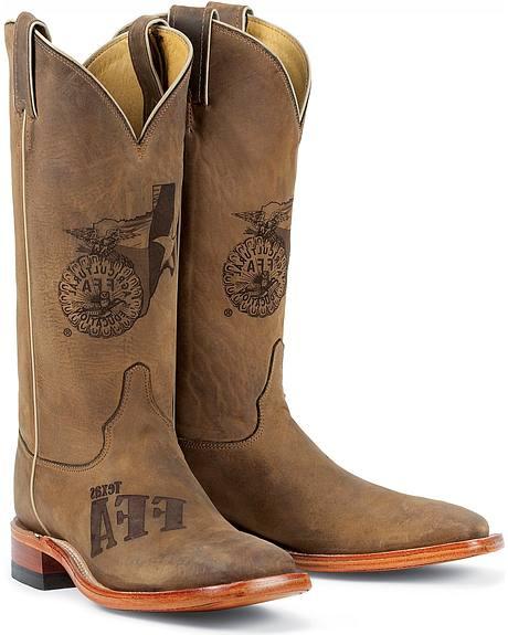 Justin Texas FFA Future Farmers of America Boots - Square Toe