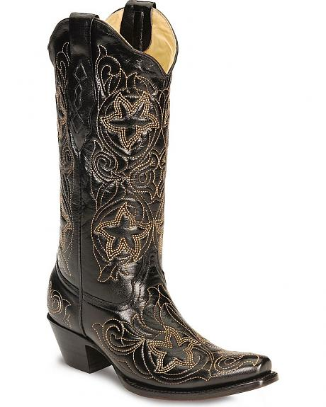 Corral Tan Star Embroidered Cowgirl Boots - Snip Toe