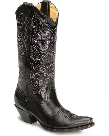 Corral Women's Purple Star Embroidered Cowgirl Boots - Snip Toe