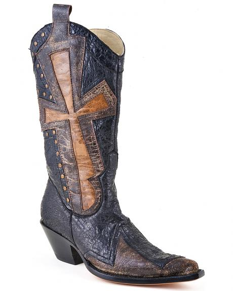 Stetson Crackled Cross Underlay Cowgirl Boots - Pointed Toe