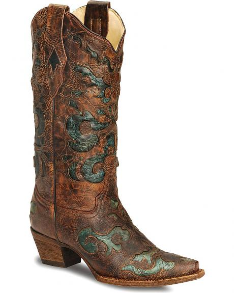 Corral Cognac Cowgirl Boot - Snip Toe