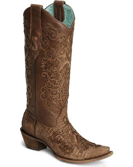 Corral Cognac Lizard Cowgirl Boots - Snip Toe