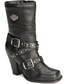 Harley Davidson Women's Obsession Motorcycle Harness Boots - Square Toe