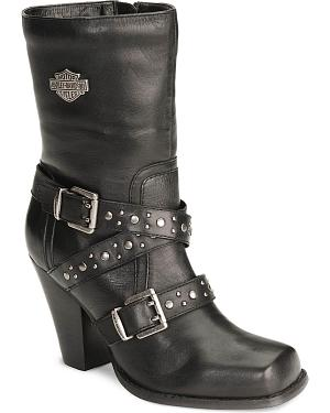 Harley Davidson Womens Obsession Harness Boots - Square Toe