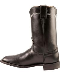 Justin Black Leather Roper Boots - Round Toe at Sheplers
