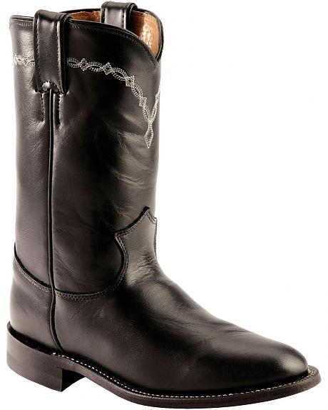 Jusitn Black Leather Roper Boots - Round Toe