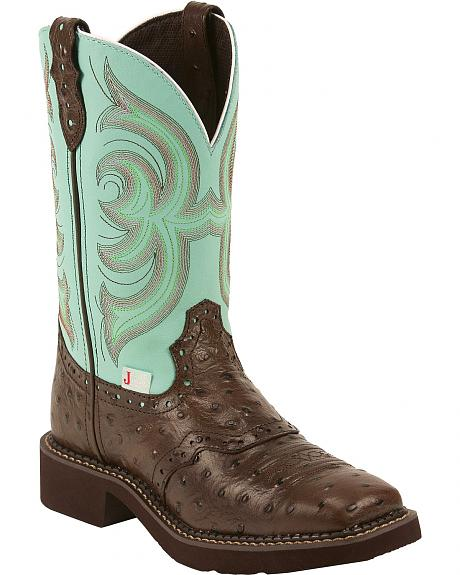 Justin Gypsy Ostrich Print Cowgirl Boots - Square Toe